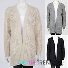 Womens Oversized Chunky Cable Knit Cardigan Ladies Long Sleeve Open Front Cardi