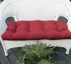 INDOOR OUTDOOR WICKER LOVESEAT SETTEE BENCH TUFTED CUSHION - CHOICE SOLID COLORS