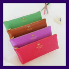 Lovely Color Faux Leather Pen Pencil Case Cosmetics Pouch - Ribbon