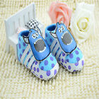 Classic Baby boy girl Sky Blue Crib Shoes soft soled Shoes Size 0-6-12-18 month