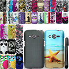 For Samsung Galaxy Avant G386T Rubberized PATTERN HARD Case Cover Phone + Pen
