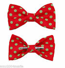 Christmas Red / Green Polka Dot Clip On Bow Tie