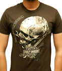 Harley-Davidson Mens Distressed Skull w / Gears Brown Short Sleeve Biker T-Shirt