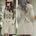 Women First-rate Long Sleeve Slim Fit Double Breasted Coat Jacket Outwear BDAU