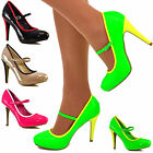 Ladies Mary Jane Pumps High Heels Patent PVC Colourful Ankle Strap Shoes Size