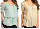 WOMENS 2/4,6/8,10/12 MINT OR BEIGE  TOP SHIRT LADIES S,M,L CLOTHING NEW!