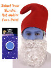 Red Hat & Beard + Optional Facepaint Gnome Santa Dwarf Elf Fancy Dress Accessory