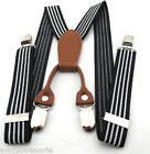 "Toddler Black / White Striped 1"" Wide Suspenders Ages 2 - 5 Years - 2T 3T 4T"