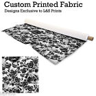BLACK AND WHITE SMALL PUGS DESIGN FABRIC LYCRA SPANDEX JERSEY POLYESTER ALOBA