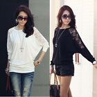 Fashion Hot New Women's Batwing Top Dolman Lace Loose T-Shirt Blouse Top