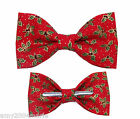 Red / Green / Gold Festive Clip On Cotton Bow Tie Christmas