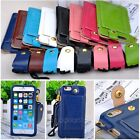 Ultra Thin Credit Card Holder PU Leather Pouch case Neck Strap for iPhone6 4.7''