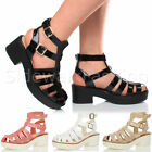 WOMENS LADIES PLATFORM STRAPPY CHUNKY GLADIATOR DOUBLE BUCKLE PARTY SANDALS SIZE