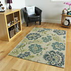 New Fine Cream Synthetic Floral Area Rugs Easy Clean thin Modern Leaf Design Mat