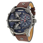 Diesel Little Daddy Dual Time Chronograph Blue Dial Leather Mens Watch DZ7314