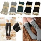 Crochet Cotton Knit Footed Leg Warmers Lace Trim Boot Socks Knee High Stockings