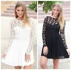 Womens Sexy Floral Lace Long Sleeve Backless Evening Party Bodycon Mini Dress LA