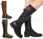 WOMENS LADIES LOW HEEL ZIP STRETCHY CALF BUCKLE RIDING BIKER WINTER BOOTS SIZE