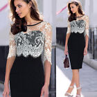 VINTAGE Women Split Bottom Lace Splicing Pencil Cocktail Evening Prom Dress NEW