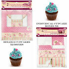 CUPCAKE BOXES PINK PATTERN 6 X INDIVIDUAL OR X2 BOXES HOLDS 6 CUPCAKES MUFFINS