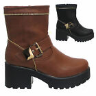 Women Ladies Gold  Buckle Zip Boots Cleated Grip Sole Rubber Faux Leather  Size