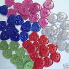 10 glittery heart buttons blue red green pink  size 24  15mm