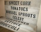 """PRIMITIVE 30"""" WOOD Produce Farm Stand Sign Rustic Country Kitchen Garden Decor"""