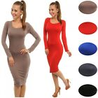 Glamour Empire Women's Stretch Bodycon Scoop Neck Long Sleeve Midi Dress 259