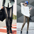 Women Faux Leather Wet Look Stretch Skinny Slim Leggings High Waist Pants Tights