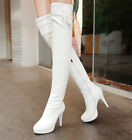 Womens Candy Court Dress Over Knee Boots Stilettos Plus Size Fashion Chic Shoes
