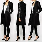Women's Warm Long PU Leather Sleeve Wool Jacket Coat Parka Trench Windbreake #LA