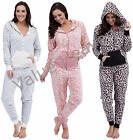 Ladies Fleece LEOPARD PRINT Animal Onesies Pyjamas PlaySuit Brown Blue Pink