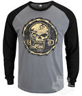 Harley-Davidson Mens Distressed Crazy Eye Skull Raglan Grey Long Sleeve T-Shirt