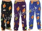 Mens Fleece Pyjama Lounge Pants Bottoms SciFi Cartoon Novelty Blue Black Purple