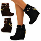Womens Platform Wedge Ankle Boots Gold Chains High Heel Faux Fur Collar Booties