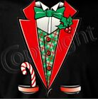 Christmas Tuxedo Shirt, with Candy Cane, Holly,  Bow Tie & Red Lapel, party