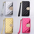 Luxury PU Leather Grid Wallet Flip Magnet Stand Case Cover For iPhone5C 5CLPD