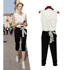 NEW women elegant summer V neck lace excellent quality sleeveless jumpsuit HOT