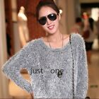 Fashion Women's Long Sleeve Crew Neck Fluffy Sweater Jumper Knit Wear Top Furry