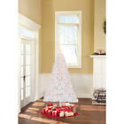 Christmas Tree Pre-Lit 6.5' Madison Pine Xmas, White, Clear / Color Lights NEW