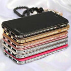 Bling Rhinestone Diamond Metal Bumper + Leather Cover Case For iPhone 6 4.7 Plus