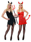 Ladies Sexy Red Devil Costume Horns + Tail Womens Halloween Fancy Dress 8 10 12