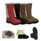 Womens Mid Calf Boots Quilted Faux Fur Inner Winter  Warm Ladies  Shoes Size UK