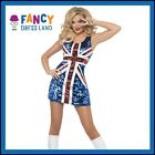 Adult Womens Union Jack England Glitter Dress Dress Costume