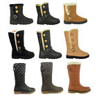 WOMENS LADIES GIRLS FLAT MID CALF KNEE HIGH QUILTED FUR LINED WINTER SNOW BOOTS