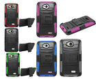 LG Tribute Hybrid Phone Armor Case Rugged Stand Cover Holster 3in1