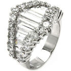 925 Sterling Silver Abstract Baguette Shiny Clear CZ Wedding Band Ring Size 3-11
