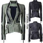Women Denim PU Leather Contrast Zip Sleeves Pleated Tuxedo Top Jacket Blazer