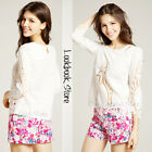 Women Floral White Cute Cut Out Round Neckline Scalloped Hem Top Shirt Blouse