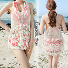 Women Beach Wear Beige Floral Flower Crochet Racer Back Scalloped Hem Tank Top